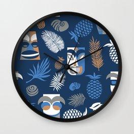 tiki masks blue seamless pattern Wall Clock