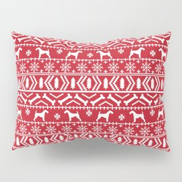 Airedale terrier fair isle silhouette christmas sweater red and white holiday dog gifts Pillow Sham