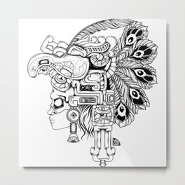 Mayan Warrior Metal Print