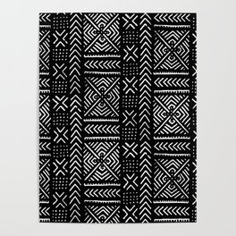 Line Mud Cloth // Black Poster