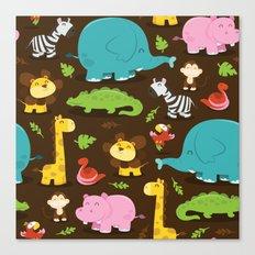 Happy Jungle Animals Pattern Background Canvas Print