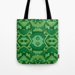 Geometric Aztec in Forest Green Tote Bag