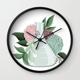 Floral Erlenmeyer Flask Wall Clock