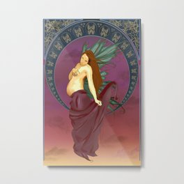 Expecting Art Nouveau Fairy Metal Print
