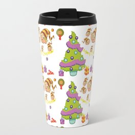 Hand painted green red Merry Christmas holiday typography pattern Travel Mug