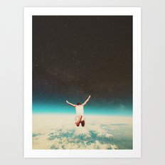 Falling with a hidden smile Art Print