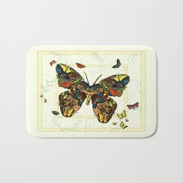 Colorful Butterfly Collage Bath Mat