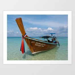 Long Tail Boat, Bamboo Island, Phi Phi Islands, Thailand Art Print