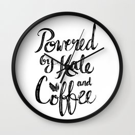 Powered by Kale and Coffee Wall Clock
