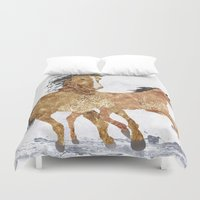 horses Duvet Covers featuring Horses by Stag Prints