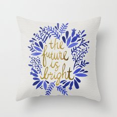 The Future is Bright – Navy & Gold Throw Pillow