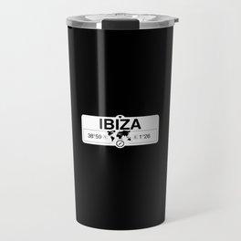 Ibiza Balearic Islands with World Map GPS Coordinates Travel Mug