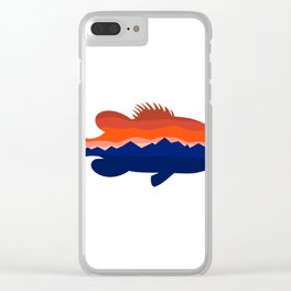 Largemouth Bass Mountains Silhouette Retro Clear iPhone Case