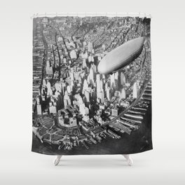USS Akron in flight over Manhattan skyscrapers black and white photography Shower Curtain