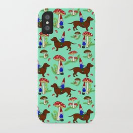 Gnome & Dachshund in Mushroom Land, Teal Background iPhone Case