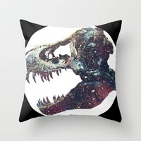 trex Throw Pillows featuring Galaxy trex by Fallen amongst the wolves