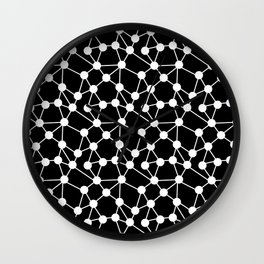 Atoms - Black and White pattern in free geometric style Wall Clock