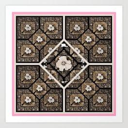Cherokee Rose Pattern 2 white pink Art Print