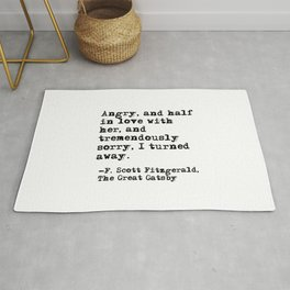 Half in love with her - Fitzgerald quote Rug