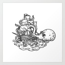 Kraken Attacking Ship Tattoo Grayscale Art Print