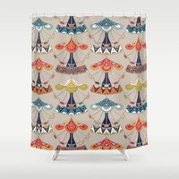 damask Shower Curtains featuring carousel damask by Sharon Turner