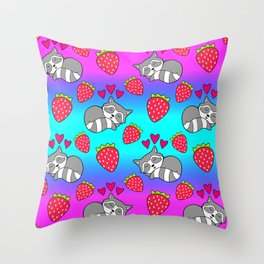 Cute funny sweet adorable sleeping baby raccoons, little pink hearts and red ripe summer strawberries cartoon bright rainbow blue and pink pattern design Throw Pillow