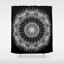 GEOMETRIC NATURE: DANDELION b/w Shower Curtain