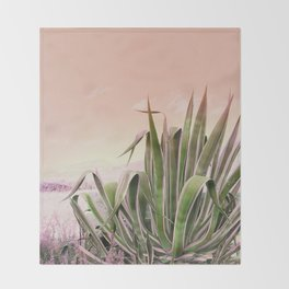 Agave in the Garden on Pastel Coral Throw Blanket