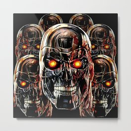 Silver Steel Skull Army painting iPhone 4 4s 5 5s 5c, pillow case, mugs and tshirt Metal Print