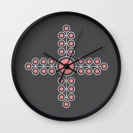 Minimalist Flowers Cross Pattern (Strawberry Ice Pink, Charcoal) Wall Clock