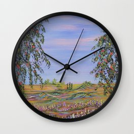 peach tree valley 2, modern impressionism art, landscape art Wall Clock