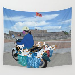 Transporting geese in Vietnam Wall Tapestry
