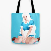 alice wonderland Tote Bags featuring Wonderland by Muzhur n' Leaevra