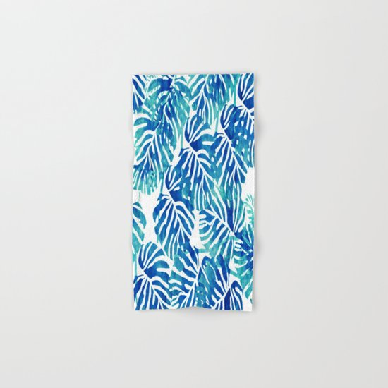 Tropical Leaves – Blue Abstract Hand & Bath Towel