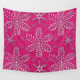 DP044-7 Silver snowflakes on pink Wall Tapestry