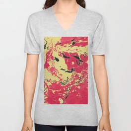 Gold and red Marble aqrylic Liquid paint art Unisex V-Neck