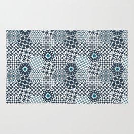 Spanish Tiles of the Alhambra - Gray & dark Aquamarine Rug