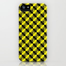 Yellow and Black Smiley Face Check iPhone Case