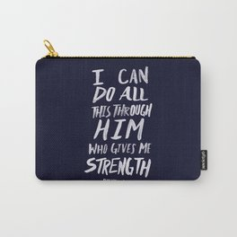 Philippians 4: 13 x Navy Carry-All Pouch