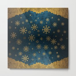 Luxury Vintage Gold Snowflake Ornament Metal Print