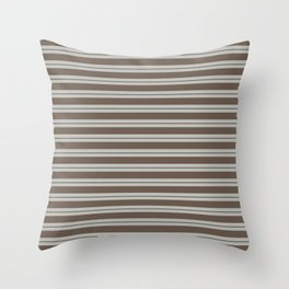 BM Mustang Brown & Color of the Year 2019 Metropolitan Light Gray Double Bold Horizontal Stripes Throw Pillow