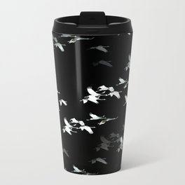 Abstract Black and White Crane Flock #decor #society6 Travel Mug