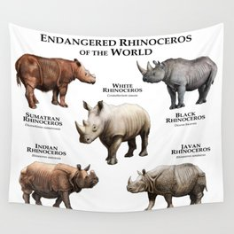 Endangered Rhinoceros of the World Wall Tapestry