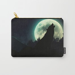 wolf sillhouette on mountain with super big moon Carry-All Pouch