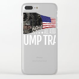 All Aboard the Trump Train 2020 American Flag T-Shirt Clear iPhone Case