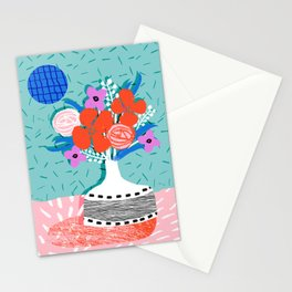 Oh Ay - memphis throwback still life retro florals modern minimal collage patterns Stationery Cards