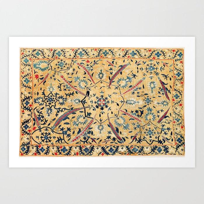 Kermina  Suzani  Antique Uzbekistan Embroidery Print Art Print