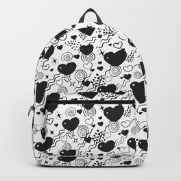 Love Hearts black and white doodles  Backpack