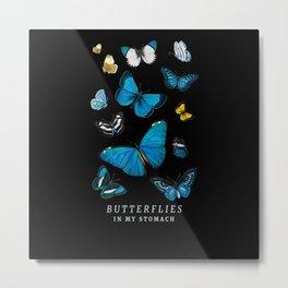 Butterflies in My Stomach Blue Butterfly Soft Metal Print