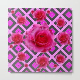 Charcoal-pink Grey Fuchsia Pink Roses  Patterns Metal Print